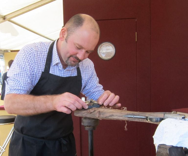 Stephane shaping up a stock at the game fair.