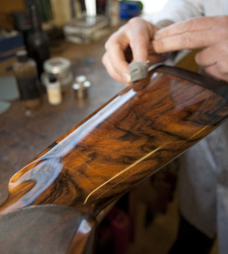 Oiling a restored Beretta shotgun stock