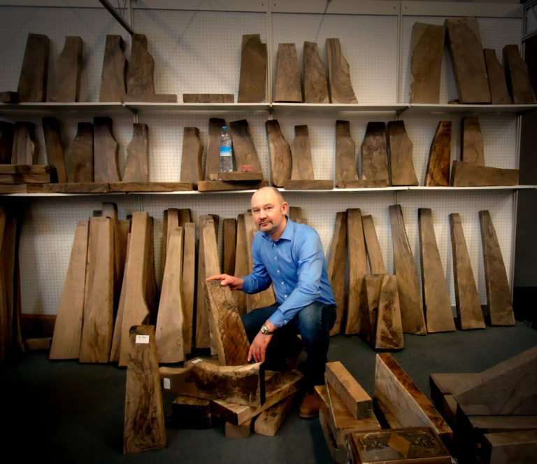 Stephane selecting some walnut wood blank.