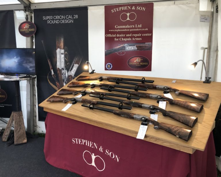 A selection of Over & Under Chapuis Armes Artisan and Classic at the Game Fair
