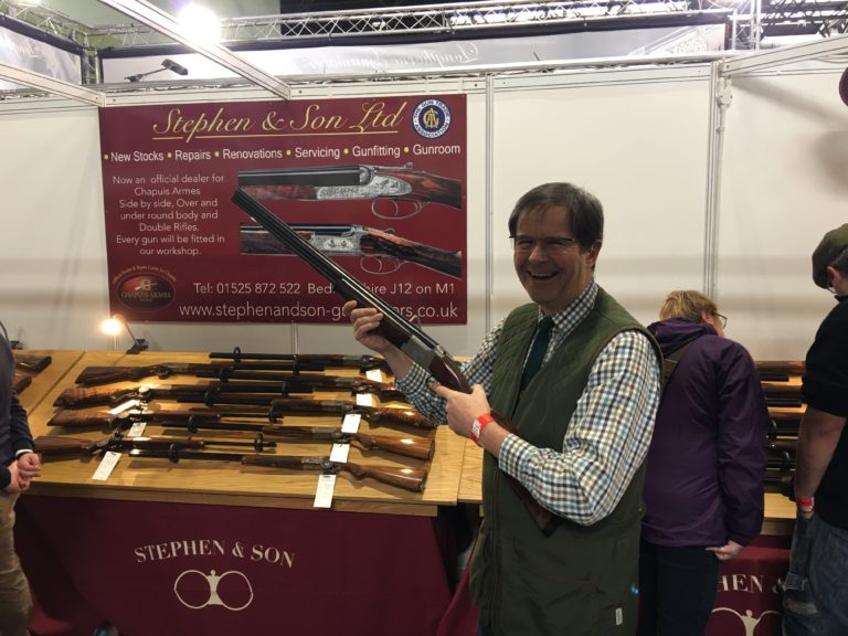 A very happy customer who purchased a Miroku left-handed from us at the Shooting Show in Birmingham