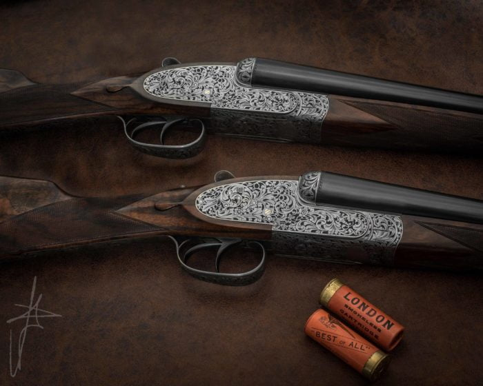 AYA No1 Extra Deluxe 12 bore fully engraved with old silver coin finish. They can be available off the shelf or bespoke made. Ideal for game shooting.