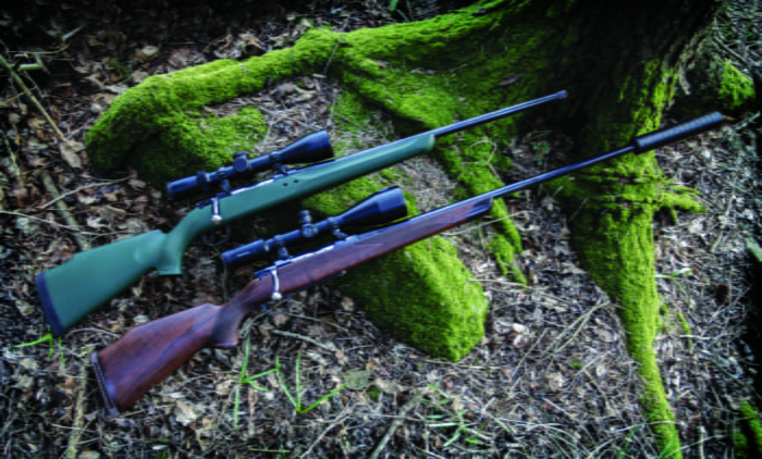 S&L rifles selection. One traveller model with synthetic stock and one classic model fitted with an S&L silencer.