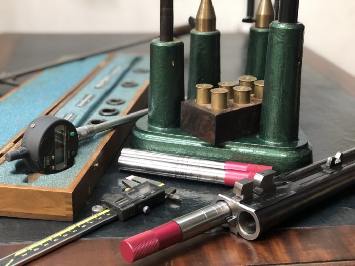 Many instruments are necessary to inspect a shotgun properly. Shown here are various instruments to inspect the barrels.