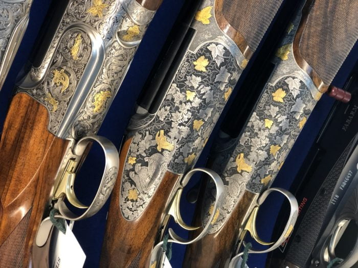 We always have in stock a large selection of Caesar Guerini's shotguns. Shown here are Caesar Guerini Invictus 3 Sporter, and two Caesar Guerini Revenant 20 bore.