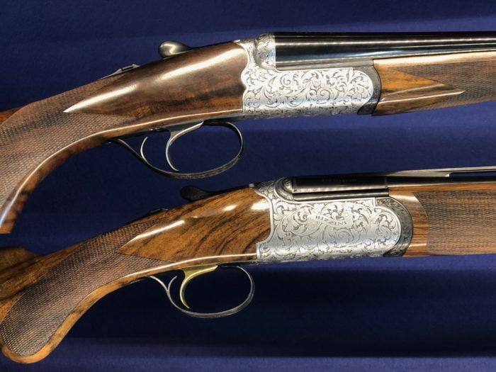 Shown here two stunningA Rizinni RB 550 .410 calibre side by side and A Rizinni EM .410 calibre Over & Under.