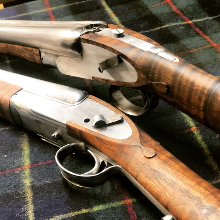 New stocks made on a pair of new side by side shotguns.