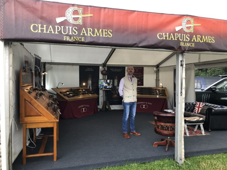Our stand at the Game Fair. Showing all the Chapuis Armes range.