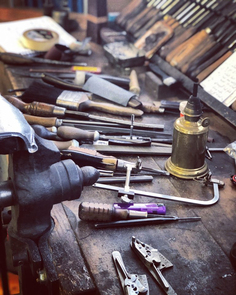 The bench of a gunmaker.