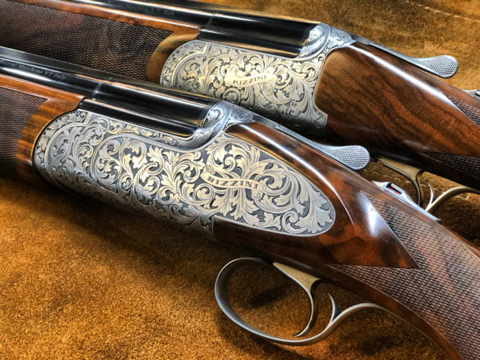 Shown here 2 Rizzini shotguns Over & Under, Rizzini Regal 12 bore and Rizzini EM Deluxe 16 Bore.